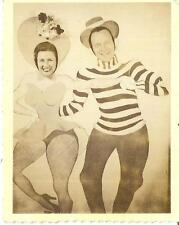 Buxom Fishnet Stocking Woman & Dancing Man Funny Vintage Photobooth Arcade Photo