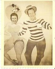 Buxom Fishnet Stocking Woman & Dancing Man Funny Vintage Photobooth Arcade Photo