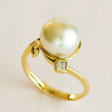 SOUTH SEA PEARL RING 10.5mm CULTURED PEARL GENUINE DIAMOND 9K GOLD SIZE N NEW