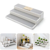 3 Layers PS Cosmetics Display Stand Holder Kitchen Shelf Spice Jars Storage Rack