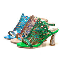 Women's Peep Toe High Heel Slingbacks Shoes Blue/Green/Gold Sandals US Size S665