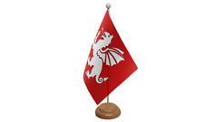 English White Dragon Table Flag with Wooden Stand