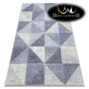 Thick Quality 20mm Modern Design Densely Soft Rugs FEEL Triangles beige violet