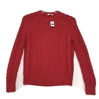GAP NWT Red Cable Knit Sweater Womens M Medium Crew Neck Ribbed Collar Cuffs NEW