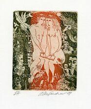 Gennadij Alexandrov, Original Etching Ex libris, Adam & Eve, Nude, Cat, Bird