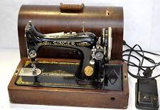 1929 Singer 99 BLACK Portable Sewing Machine w/ Foot Pedal & box