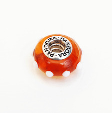 "Genuine Pandora Murano Glass Bead ""Seeing Spots"" Amber/White 79632"