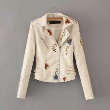 2018 Ladies Floral Embroidery Jacket Rivet Motorcycle PU Leather Slim Short Coat