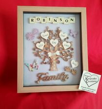 PERSONALISED FAMILY TREE PICTURE MOTHERS DAY GIFT FRAME KEEPSAKE WOODEN HEARTS