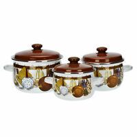 6 Pcs Marmites Émaillé Set Batterie Cuisine Casseroles Pots Brun Blanc Neuf