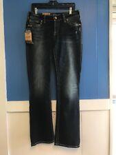 Womens Denim Jeans, Size 32 x 33, Suki Silver, SUKI FIT, Mid Slim Boot, Fluid