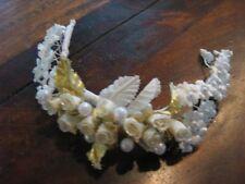 Ornamento per testa Corona fiore Matrimonio ~ Fatto mano ~ bianco oro #64 NUOVO