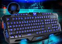Backlit Pro Gaming USB Keyboard Multimedia Illuminated Color LED USB Wired