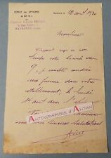 L.A.S 1930 Capitaine Gaston HIERLE - NARBONNE - 80è RI Lettre Au docteur Masquin