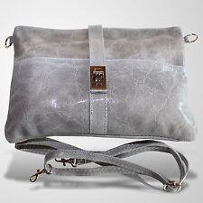 Clutch Abendtasche Schultertasche Umhänge Tasche Leder Handtasche Grau 1