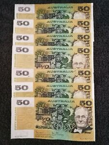Vintage Used Australian Fifty Dollar Banknotes