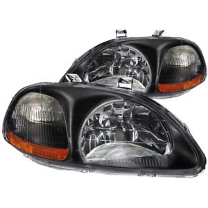 ANZO 1996-1998 for Honda Civic Crystal Headlights Black (121067)