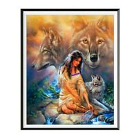 Diamond Embroidery Beauty With Wolf 5d Diamond Painting Full Diamond Picture S5U