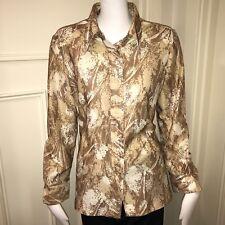Vtg 60s 70s TAN Womens Large FLORAL Disco POLYESTER Mod Blouse Hippie shirt Top