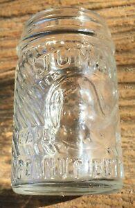 1930 Jumbo Elephant Peanut Butter Glass Jar Frank Tea & Spice Tiny 3 1/2 oz Excl