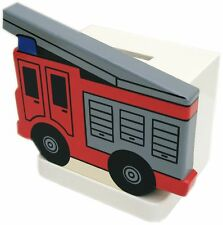 Fire Engine Wooden Money Box - Hand Made In Uk
