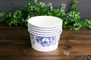 Set of 5 Paper Bowl Food Grade Shabby Chic Party Food Snack Round Blue and White
