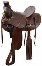 "16"" High Back Wade Ranch Style Western Leather TRAIL Buffalo Saddle horse nr"