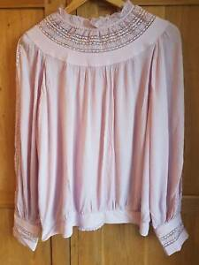 Pink high neck frill top blouse, M&S, size 16 - never worn!!