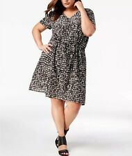 Eileen Fisher Plus Serglio Printed Silk V Neck Knee Length Pebble Dress Size 1X