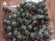 Resin Shamballa Style Disco Ball Beads x 100 12mm Dark Green & Gold