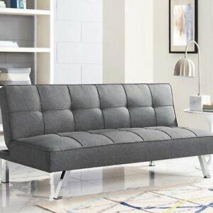 "Twin 66.1"" Tufted Back Convertible Futon Sofa-Modern-Grey-Chrome"