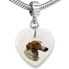 Borzoi / Russian Wolfhound Natural Shell European Bracelet Charm Bead EBS113