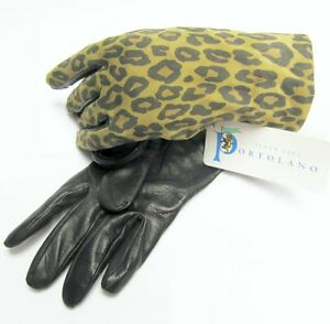 PORTOLANO ITALY Cashmere Lined Leather Leopaid Women 7 Gloves Gift College NEW
