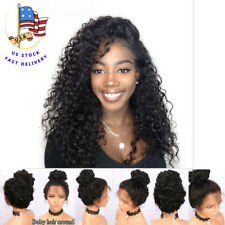 """US 18"""" Pre Plucked Lace Front Full Head Wigs Deep Wave Wavy W/Baby Hair 180%"""