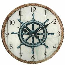 G2790 Maritime Wall Clock With Steering Wheel and Cordage Motive Sailors Watch