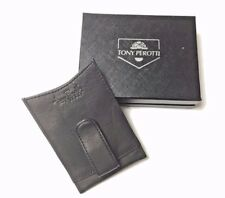 Tony Perotti Italian Leather Money Clip Wallet with Credit Card Slots in Black