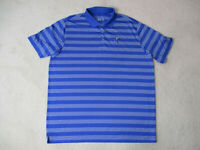 Nike Golf Tour Performance Polo Shirt Adult 2XL XXL Blue White Striped Dri Fit