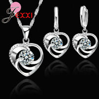 925 Sterling Silver Crystal Cubic Zirconia Heart Pendant Necklace Earring Set UK
