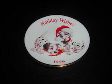 "HALLMARK DISNEY 101 DALMATIANS HOLIDAY WISHES 1996 CHRISTMAS 3.5"" PLATE ORNAMENT"