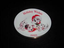 "HALLMARK DISNEY 101 DALMATIANS HOLIDAY WISHES 1996 CHRISTMAS 3.5"" PLATE ORNAMENT"