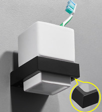 New Black Space Aluminum Wall Mounted Toothbrush Holder with Single Ceramic Cups