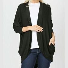 Zenana Premium Womens Cardigan 3/4 Sleeve Cocoon Wrap Black Plus Size