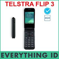TELSTRA ZTE FLIP 3 BLACK 4G 4GX BLUE TICK SENIORS BIG BUTTON RURAL MOBILE PHONE