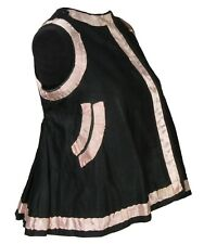 Vintage Ukrainian folk costume vest black w/ pink trim handmade ethnic clothing