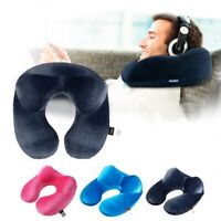 US Inflatable Flight Pillow Neck U Travel Hiking Rest Head Support Air Cushion