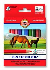 KOH-I-NOOR TRIOCOLOR COLOURED PENCILS - Pack of 12 Short Assorted Colour Pencils
