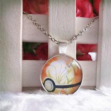 Ninetales Pokemon Pendant Tibet silver Cabochon Glass Chain Necklace