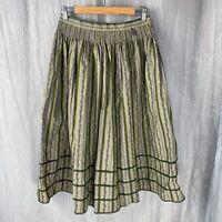 *VINTAGE* Olive Green Purple SIZE 8/10 UK Gathered Flare Lined Striped Skirt V2