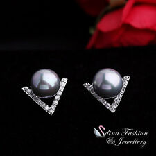18k White Gold Plated Simulated Pearl & Diamond Stylish Letter V Stud Earrings