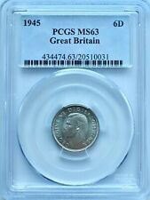 More details for 1945 6 pence silver sixpence great britain pcgs ms63